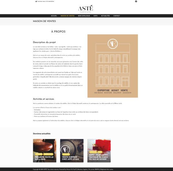Site web Catalogue - A propos