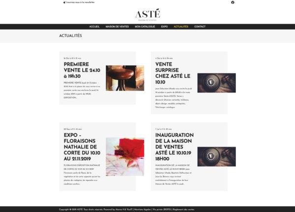 Site web Catalogue - Actualités